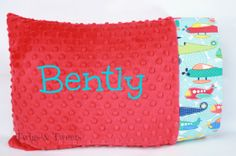 Personalized Pillow Case Red Minky with Michael by twigsandtweets, $20.00