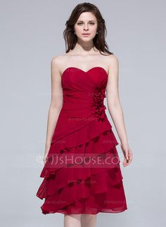 Bridesmaid Dresses - $106.99 - A-Line/Princess Sweetheart Knee-Length Chiffon Bridesmaid Dress With Ruffle Flower(s) (007037263) http://jjshouse.com/A-Line-Princess-Sweetheart-Knee-Length-Chiffon-Bridesmaid-Dress-With-Ruffle-Flower-S-007037263-g37263