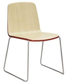 Chaise empilable Just / Bois Frêne avec contour rouge / Pied chromé - Normann Copenhagen