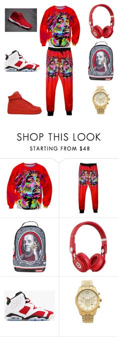 """""""2 pac all day"""" by aleisharodriguez ❤ liked on Polyvore featuring Sprayground, NIKE, Beats by Dr. Dre, Michael Kors, men's fashion and menswear"""