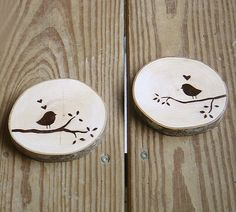 """I'm glad I found you"" Love bird coasters :) These natural coasters are made out of the beautiful maine maple tree. The motif is screen printed by hand with water based ink. The top and bottom surfaces are protected with water based polycrylic. Sizes: The coasters are approximately 4"" in diameter and 1/2"" thick."