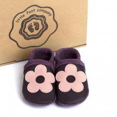 little foot company baby slofjes bloeme pruim  handgenaaide kruipschoenen van nappa leer www.emmaswereld.nl