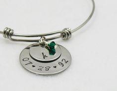 Bangle Bracelet - Birthstone Jewelry - Mother Daughter Gift - Birthday Bracelet - Zodiac Jewelry - Personalized Gift - Custom Bracelet