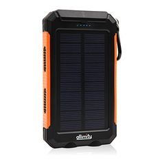 Solar Charger, allimity 10000mAh 2 USB Ports Waterproof Solar Power Bank with 2…