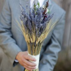 I like this wheat and lavender/wildflower bouquet so much. If you used dried flowers you could make them way in advance. WIN