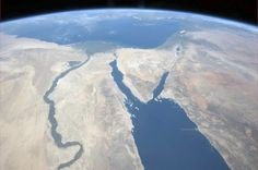 Nile and Sinai Pennisula - Chris Hadfield, the first Canadian commander of the International Space Station - sends photos from the orbit using Twitter