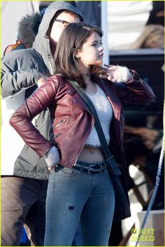 Selena Gomez keeps it serious while shooting a scene at a gas station for her upcoming film The Revised Fundamentals of Caregiving on Tuesday (January 27) in Atlanta, Ga.