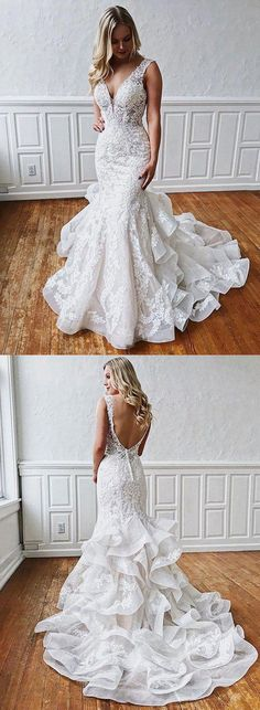 This dress could be custom made, there are no extra cost to do custom size and color, Stunning Mermaid Lace V Neck Backless Wedding Dresses Straps Wedding Gowns Making A Wedding Dress, Open Back Wedding Dress, Western Wedding Dresses, Wedding Dresses With Straps, Backless Wedding, Dream Wedding Dresses, Bridal Dresses, Wedding Gowns, Lace Wedding