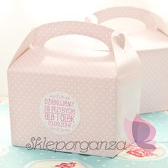 pudełka na ciasto różowe kropki upominki dla gości skleporganza.pl