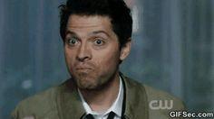 agreeing, eating, Misha Collins, Castiel, Supernatural GIF - Funny ...