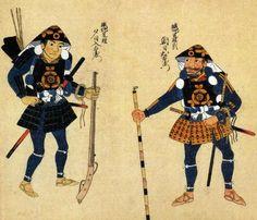 Edo period wood block print of matchlock ashigaru (foot soldiers).