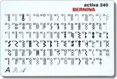 Bernina Activa 240 stitch card