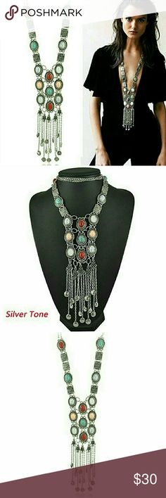 """RESTOCK! 5-star rated Boho Retro Stone Necklace BACK BY POPULAR DEMAND !! These babies fly off my shelf in days so get yours while they're in stock!  Gorgeous long silver tone necklace with turquoise alloy and rhinestone. 28"""" length and huge statement, but only weighs 5oz, not incredibly heavy but a solid necklace thay feels sturdy. Environmental alloy metal - anti-allergenic. Feel free to make an offer! C.C. Boutique Jewelry Necklaces"""