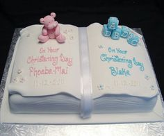 Boy Girl Twins open book christening cake - so darling! Baby Cakes, Baby Shower Cakes, Baby Christening Cakes, Baptism Cakes, Baptism Sheet Cake, Baby Dedication Cake, Open Book Cakes, Bible Cake, Twin Birthday Cakes
