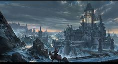 Fantasy castles are something that astound us. The fantasy castle art that you get to see online makes you wonder how cool it would be to have them in real life. Fantasy City, Fantasy Castle, Fantasy Places, Fantasy Kunst, High Fantasy, Fantasy Rpg, Medieval Fantasy, Fantasy World, Concept Art Landscape