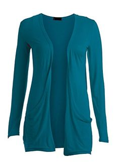 Ladies Women Boyfriend Open Cardigan with Pockets Long Sleeve All Sizes Teal SM ** Check this awesome product by going to the link at the image.