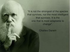 """""""It's not the strongest of the species that survives, not the most intelligent that survives. It is the one that is most adaptable to change."""" - Charles Darwin #Quotes #Change"""
