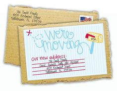 "FREE Coton Colors ""We're Moving"" Printables! Suggests cutting moving boxes to size and using them as the post card."