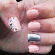 #pink #nails #nailart #gems #rhinestones #acrylic #silver #design #short #glitter