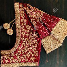 Hand Work Blouse Design, Stylish Blouse Design, Wedding Saree Blouse Designs, Fancy Blouse Designs, Sari Design, Kurta Designs Women, Designer Blouse Patterns, Foto E Video, Magam Work Designs