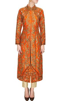Orange zardosi embroidered jacket kurta with gold pants available only at Pernia's Pop-Up Shop.