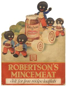 Golliwog thick diecut cdbd easel back sign for Robertson's Mincemeat, pictures 5 Golliwogs w/tasty t