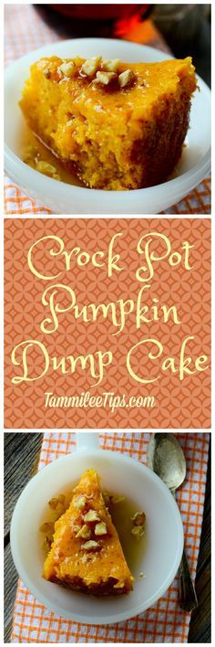 This super easy crock pot pumpkin dump cake recipe is absolutely delicious! The … This super easy crock pot pumpkin dump cake recipe is absolutely delicious! The slow cooker does all the work and you have a great fall dessert to serve! Crock Pot Desserts, Slow Cooker Desserts, Crockpot Dishes, Crock Pot Slow Cooker, Crock Pot Cooking, Crockpot Recipes, Delicious Desserts, Cooking Recipes, Brownie Desserts