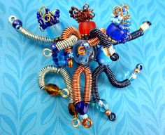 Whimsical Bead Dancers Sassy Sisters Pin by RainboWireJewelry