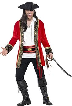 Smiffys Mens Plus Size Pirate Captain Costume Red XXLarge *** Learn more by visiting the image link.