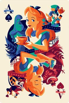 The adventures of Alice in wonderland as a playing card