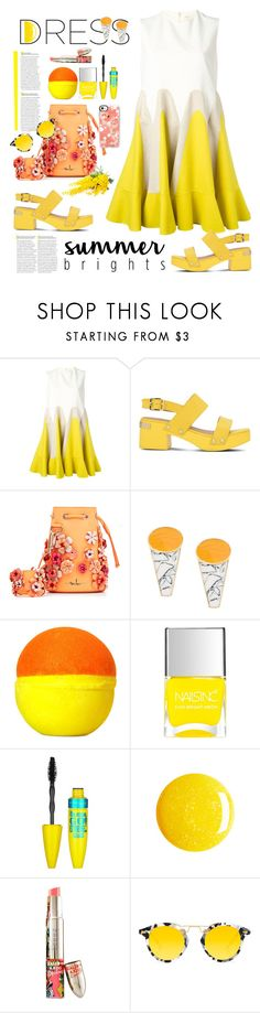 """So Pretty: Dreamy Dresses in Yellow"" by ellie366 ❤ liked on Polyvore featuring Delpozo, Love Moschino, Marina Hoermanseder, Eshvi, Nails Inc., Maybelline, Teeez, Krewe, Casetify and SpringToSummer"