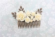 Bridal Hair Comb White Rose Comb with Branches and Pearls Floral - Αναζήτηση Google
