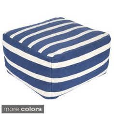 Hand Crafted Amelia Striped 24-inch Large Square Pouf