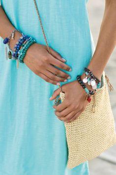 Boat-neck t-shirt dress, land  sea charm bracelet, deep sea bracelet stack, beaded lagoon bracelet, atlantis coin bracelet  straw cross-body bag | www.jjill.com