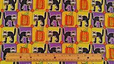 Fun Halloween Spirit Pumpkin Black Cats Purple Yellow Green Square Fabric 2 Yds… Halloween Items, Spirit Halloween, Spooky Halloween, Fabric Squares, Purple Yellow, Black Cats, Pumpkin, Costumes, Green