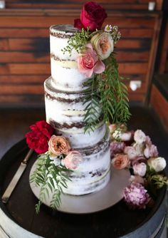 Sweet Bakes ~ Wedding Cakes, Cookies and other Sweet Treats - Mon Cheri Bridals Round Wedding Cakes, Wedding Cake Rustic, Unique Wedding Cakes, Wedding Cakes With Flowers, Cake Wedding, Winter Wedding Inspiration, Wedding Ideas, Wedding Goals, Wedding Stuff