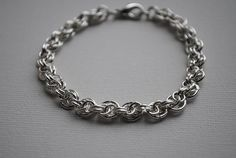 Sterling Silver Bracelet, Chain, Bicycle Link Chainmaille, Handmade, Lobster Clasp, Jewellery