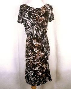 euc Donna Morgan Brown/Gray Abstract Animal Print Ruched Dress Lined stretch 8 #DonnaMorgan