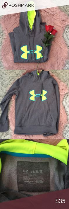 NWOT Gray Under Armour Hoodie Never worn! Perfect condition. Size medium with charcoal gray lime green/yellow and blue Under Armour Tops Sweatshirts & Hoodies