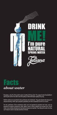 Natural spring water Juliana Water Facts, Natural Spring Water, World Water, Bottle Design, Drinking Water, Pure Products, Nature, Naturaleza, Natural