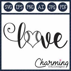 Love Baseball SVG Cut File