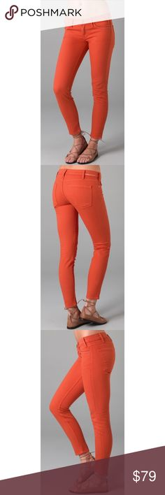 Current/Elliot Stiletto Crop Skinny Jeans-Orange Current/Elliott's The Stilleto - a must-have classic that's a staple necessary for every closet! Low-rise cropped skinny jeans in Cayenne (burnt orange, super comfy stretch cotton denim material that will make these your new favorite jeans that you'll never want to take off ever! Never worn, no damage or flaws -perfect condition. Size 24. Will take photos of actual pants when i get home tonight! Offers welcome! Free gifts with all purchases…