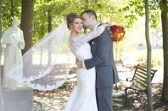 Bride & Groom wedding portrait | Springfield, Northern Virginia classic traditional Catholic fall wedding with Reception at Waterford | Christa Rae Photography