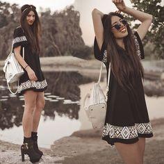 Boho Chic Black With White Crochet Detailing Bohemian Fashion Hippie Style