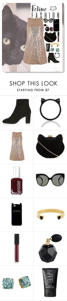 """""""Fancy Feline Outfit"""" by ohsosartorial on Polyvore featuring River Island, Kate Spade, Dorothy Perkins, New Look, Essie, Linda Farrow, Forever 21, NARS Cosmetics, cats and Sequins"""