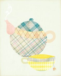 Teapot picture could be made from fabric scraps