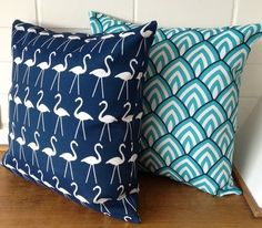 Outdoor Cushion Cover - Navy Blue and White Flamingos - via DTLL.