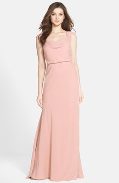 Jenny Yoo 'Sabine' Drop Shoulder Crêpe de Chine Gown available at #Nordstrom