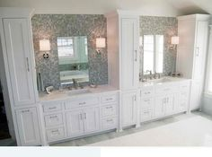 Traditional Tall Bathroom Cabinets Design : Tall Bathroom Cabinet Traditional Design With Twins