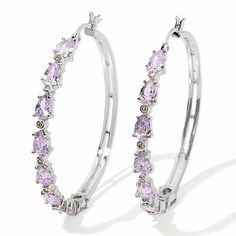 Justine Simmons Jewelry 12.05ct Lavender CZ Hoop Earrings at HSN.com  #Bridaltribe #Weddings #Radiant #Orchid #JoinTheTribe 2014